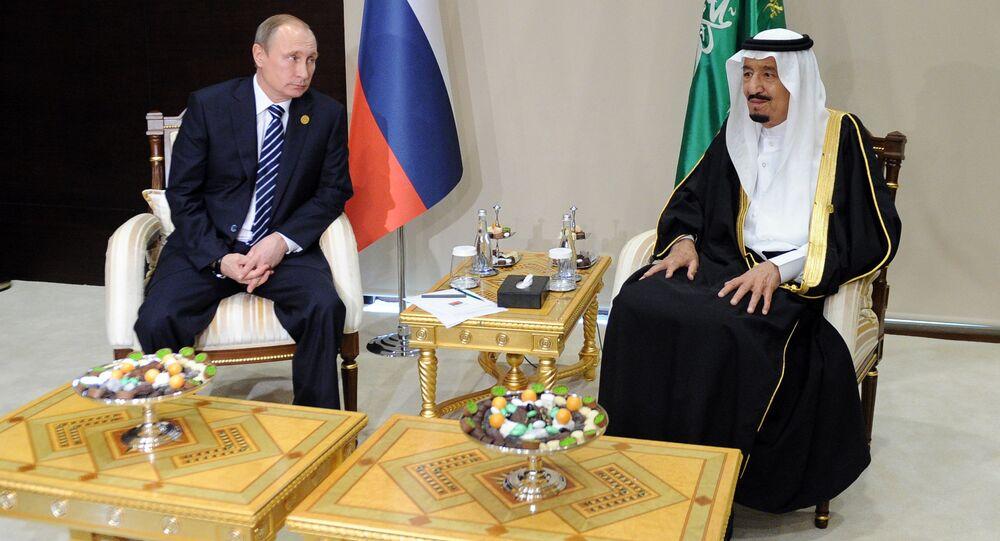 November 16, 2015.Vladimir Putin, left, President of the Russian Federation, with Salman bin Abdulaziz Al Saud, King of Saudi Arabia.