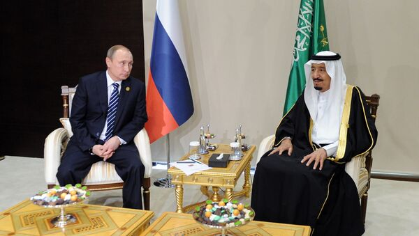 November 16, 2015.Vladimir Putin, left, President of the Russian Federation, with Salman bin Abdulaziz Al Saud, King of Saudi Arabia and Chairman of the Saudi Council of Ministers, during a meeting on the sidelines of the Group of 20 summit in Antalya, Turkey. - Sputnik International