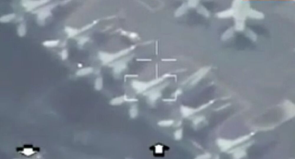 Iranian navy drone spying on the US navy aircraft carrier