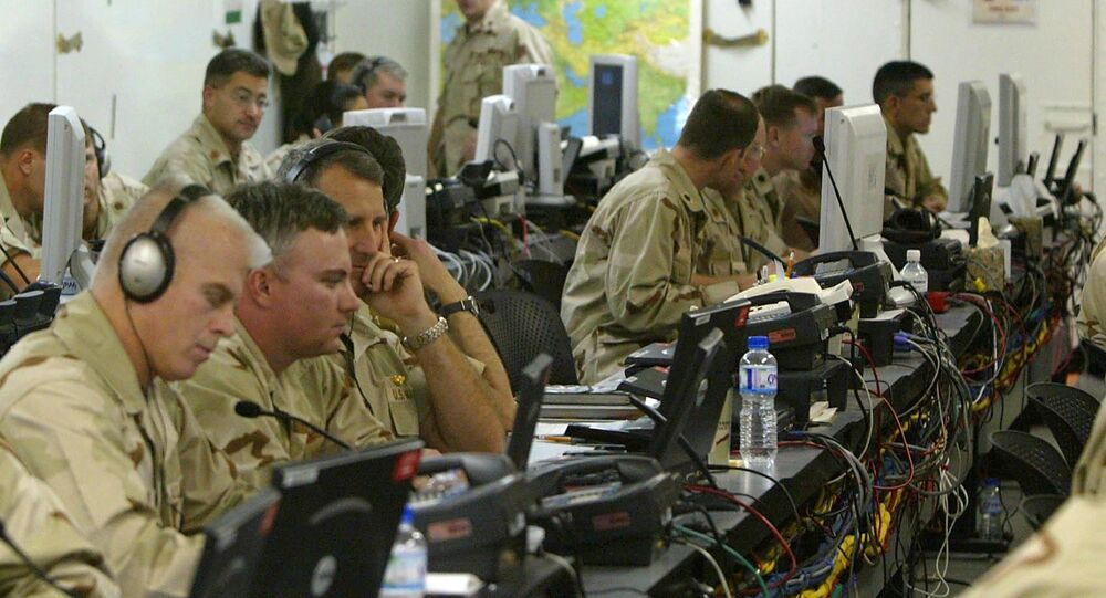 US soldiers work in the Joint Operations Center