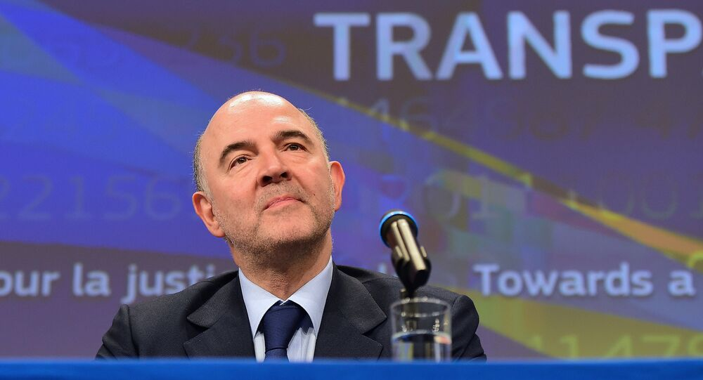 Pierre Moscovici, European commissioner for Economic and Financial Affairs, Taxation and Customs, holds a press conference on tax and financial transparency at the European Commission in Brussels on March 18, 2015.
