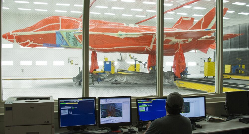 F-35 fighter jet is seen at Lockheed Martin's facility in Texas