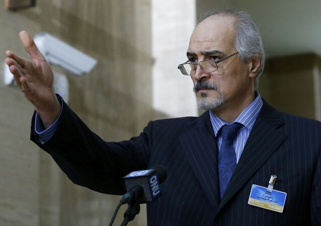 Syrian Ambassador to the U.N. Bashar Jaafari holds a news conference during the Syrian Peace talks at the United Nations European headquarters in Geneva, Switzerland, February 2, 2016