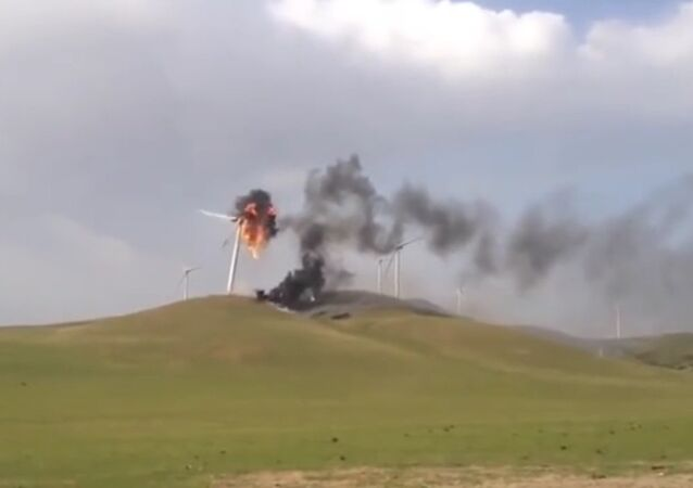 Wind turbine is on fire
