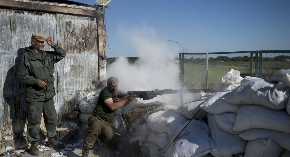 Donbass people's militia fighters during training at the Krasny Partizan border checkpoint