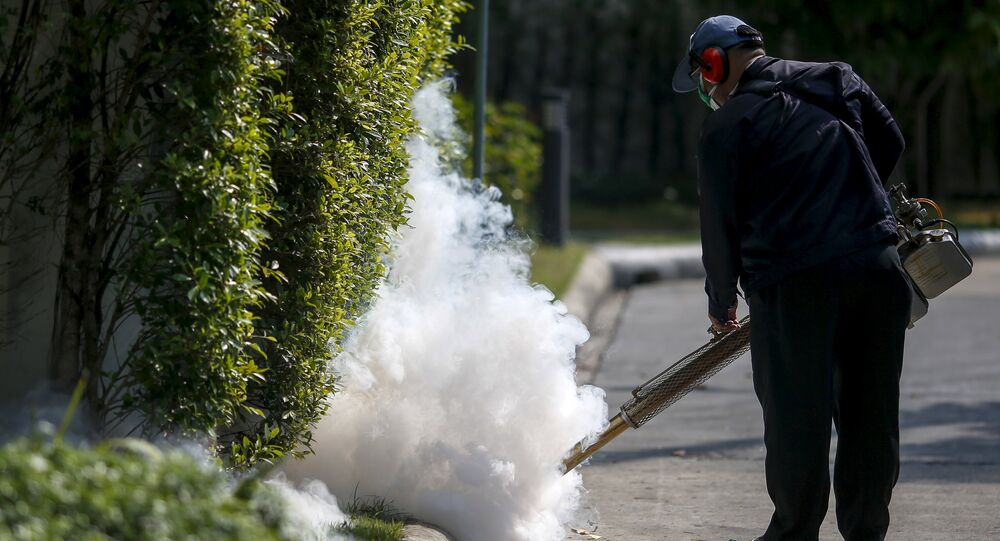 A worker sprays insecticide for mosquitos at a village in Bangkok, Thailand, January 13, 2016