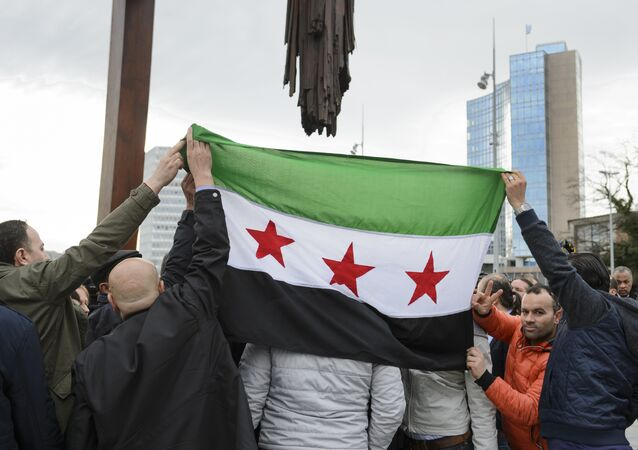 File photo of High Negotiations Committee (HNC) (Syrian opposition body) supporters holding a Syrian flag