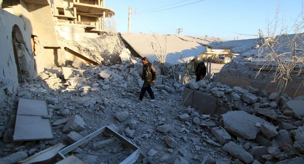 Destroyed Anadan city, Northern Aleppo countryside, Syria