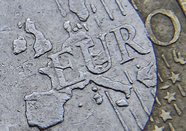 Detail of a European map, including Great Britain, is seen on the face of a Euro coin in London, Britain.