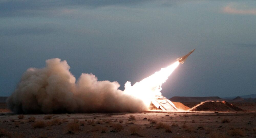 A Hawk surface-to-air missile is launched during military maneuvers at an undisclosed location in Iran on November 13, 2012