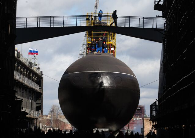 Launching the submarine Krasnodar in St. Petersburg