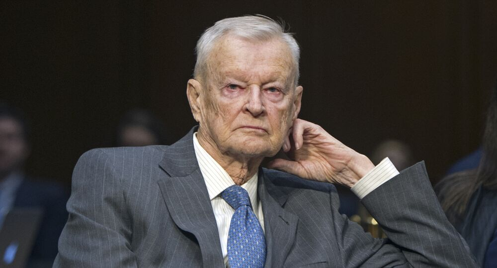 Former National Security Adviser Zbigniew Brzezinski, counselor, trustee, Center For Strategic And International Studies, waits to testify on Capitol Hill in Washington, Wednesday, Jan. 21, 2015, before the Senate Armed Services Committee's hearing to examine global challenges and US national security strategy