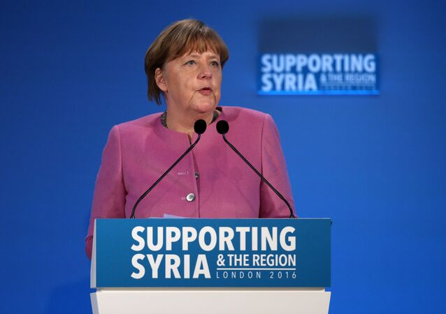 German Chancellor Angela Merkel speaks during a donor conference entitled 'Supporting Syria & The Region' at the QEII centre in central London on February 4, 2016.