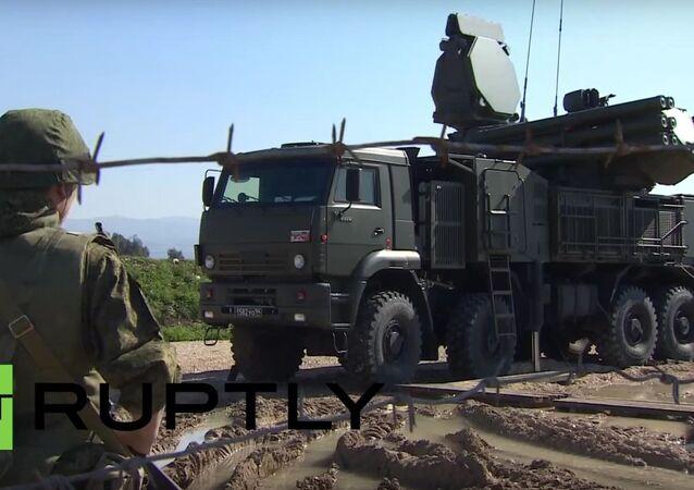 Russian Pantsir-S2 & S-400 Triumf anti-aircraft systems deployed at Hmeymim airbase.