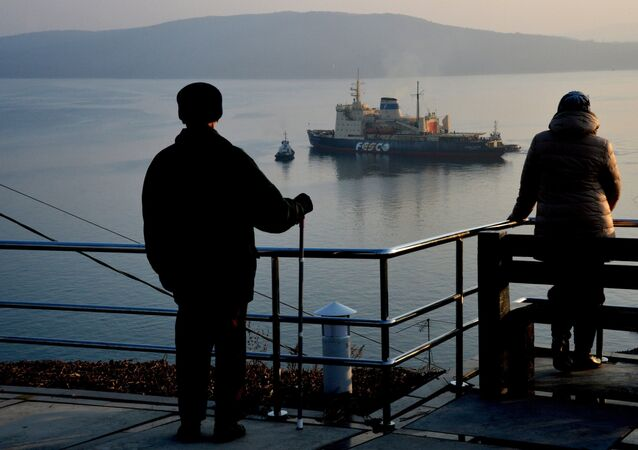 The Arctic icebreaker Admiral Makarov of the Far Eastern Shipping Company sails out from Vladivostok