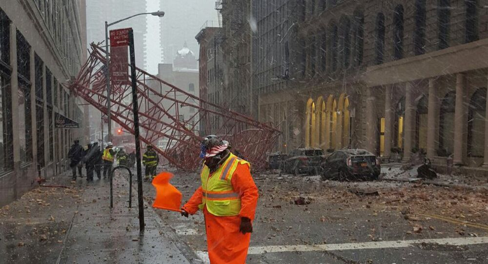 This photo courtesy of Paul Leys shows a crane collapse in Lower Manhattan on Friday, Feb. 5, 2016 in New York