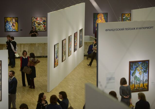 Visitors at the State Tretyakov Gallery, Moscow
