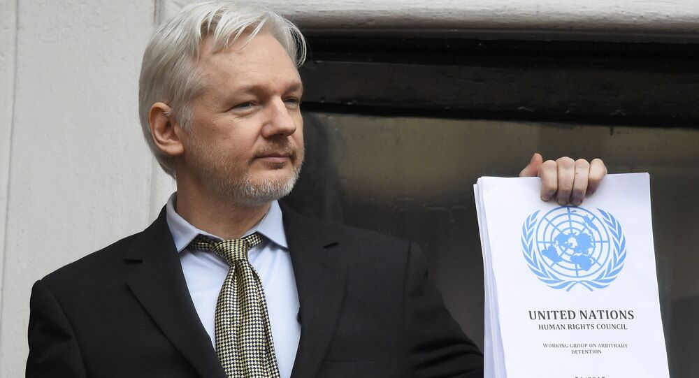 WikiLeaks founder Julian Assange holds a copy of a U.N. ruling as he makes a speech from the balcony of the Ecuadorian Embassy, in central London, Britain February 5, 2016.
