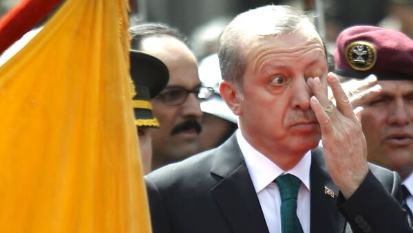 Turkish President Tayyip Erdogan rubs his eye during a diplomatic ceremony in front of Carondelet Palace in Quito, Ecuador, February 4, 2016 - Sputnik International