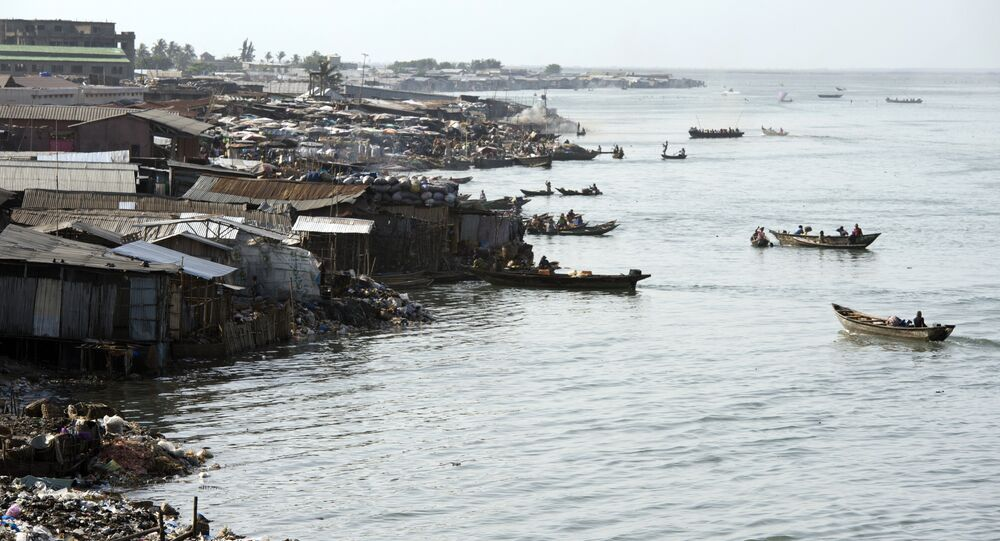 A picture taken on July 1, 2015, shows a general view of the lagoon in Cotonou
