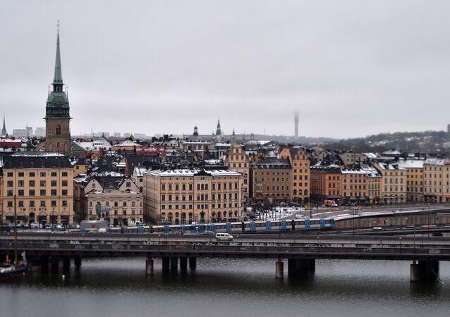 Stockholm metro train on a metro bridge.