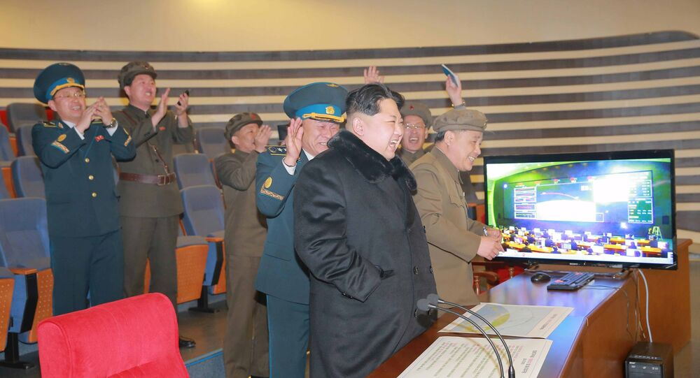 North Korean leader Kim Jong Un reacts as he watches a long range rocket launch in this undated photo released by North Korea's Korean Central News Agency (KCNA) in Pyongyang February 7, 2016.