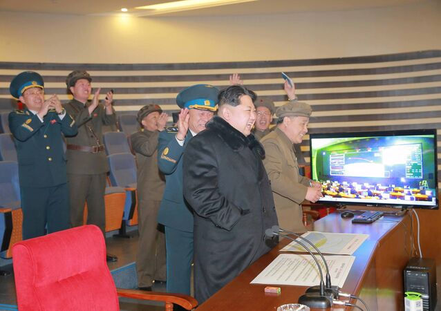 North Korean leader Kim Jong-un reacts as he watches a long range rocket launch in this undated photo released by North Korea's Korean Central News Agency (KCNA) in Pyongyang February 7, 2016.