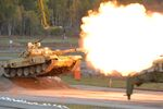 Т-90А tank during demonstration firing