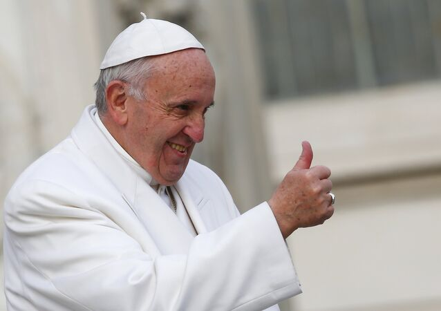 Pope Francis gestures during a special audience to celebrate a Jubilee day for the mystic saint Padre Pio in Saint Peter's Square at the Vatican February 6, 2016.