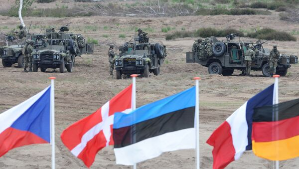 In this June 18, 2015,file photo flags wave in front of soldiers who take positions with their army vehicles during the NATO Noble Jump exercise on a training range near Swietoszow Zagan, Poland - Sputnik International