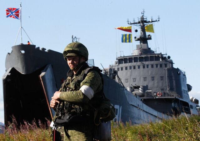 A marine participates in a training exercise on the shore of the Kamchatka Peninsula. File photo
