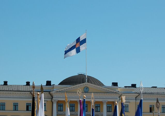 Finnish flag flying on the Palace of the Council of State, Helsinki