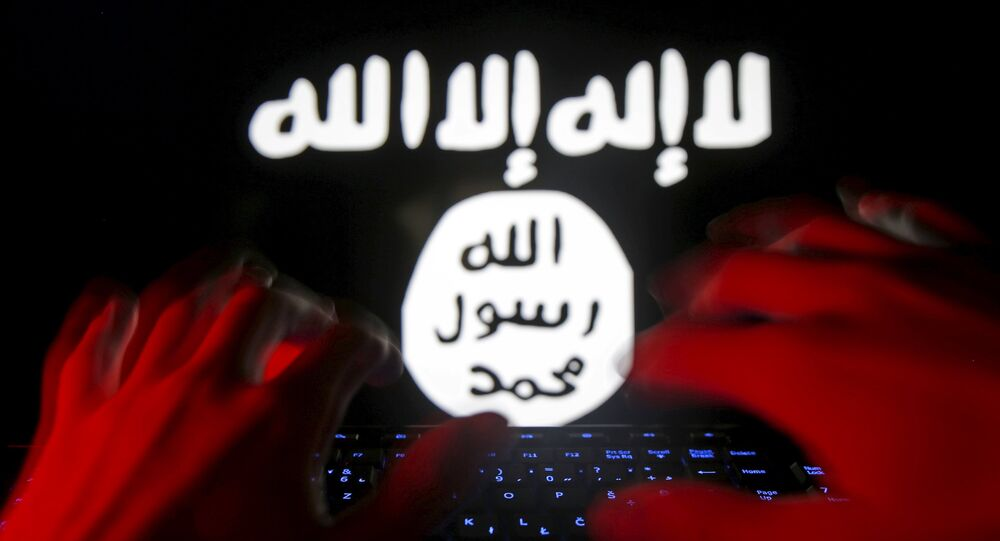 A man types on a keyboard in front of a computer screen on which an Islamic State flag is displayed, in this picture illustration taken in Zenica, Bosnia and Herzegovina, February 6, 2016