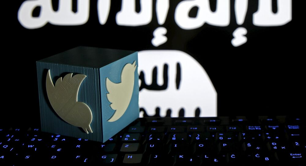 A 3D-printed Twitter logo is seen on a keyboard in front of a computer screen on which an Islamic State flag is displayed, in this picture illustration taken in Zenica, Bosnia and Herzegovina, February 6, 2016