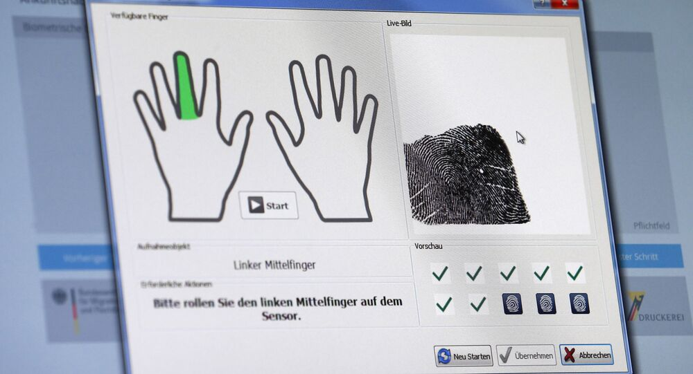 A fingerprint of a refugee is seen on a computer screen at the migrants registration center of the Patrick-Henry Village refugee center in Heidelberg, Germany January 28, 2016.