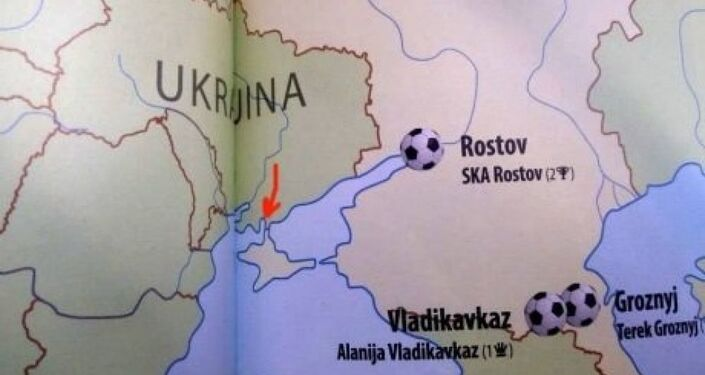A football atlas published by Ottovo nakladatelství which depicts the Crimean Peninsula as part of Russia.