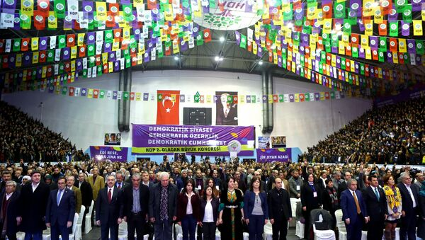 Party members stand during the second general assembly of the Peoples' Democratic Party (HDP) at Ahmet Taner Kislali Sports Hall in Ankara on January 24, 2016 - Sputnik International