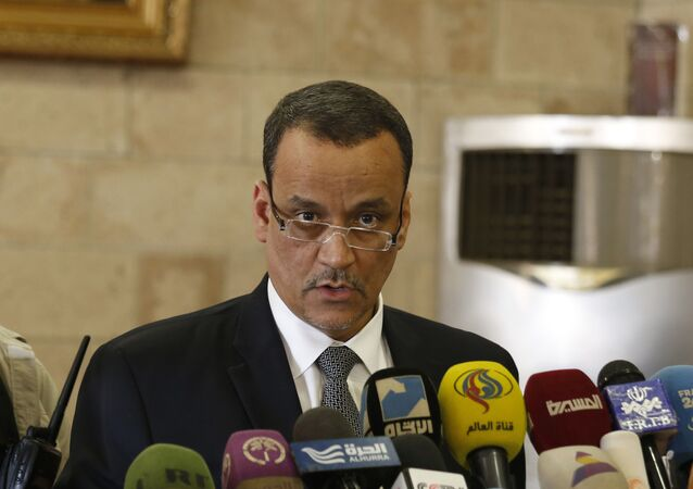 U.N. special envoy to Yemen, Ismail Ould Cheikh Ahmed speaks at a press conference in Sanaa, Yemen, Thursday, Jan. 14, 2016