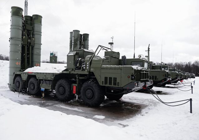 The launch units of a S-400 Triumf air defense missile system, which has entered service with the Moscow Region's air defense aerospace force