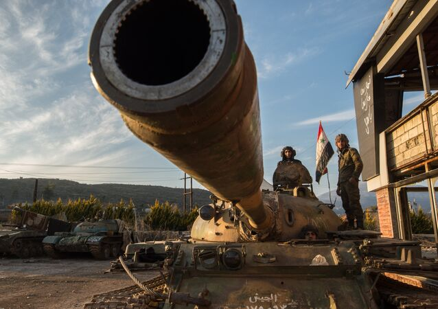 Servicemen of the Syrian Arab Army at the Syrian-Turkish border near the town of Kessab