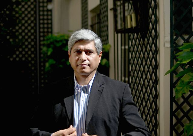 Vikas Swarup, Indian diplomat and author of the first novel Q&A, successfully adapted for the screen as Slumdog Millionaire poses on May 21, 2010 at his hotel in Paris