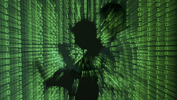 An illustration picture shows a projection of binary code on a man holding a laptop computer. - Sputnik International