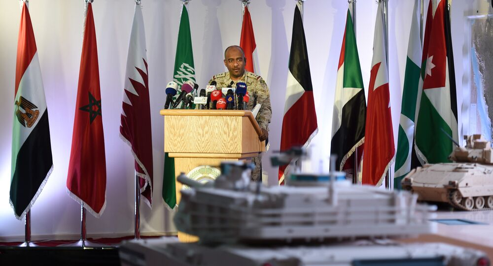 Saudi Brigadier General Ahmed Asiri, spokesman of the Saudi-led coalition forces, speaks to the media at the Riyadh airbase in the Saudi capital (File)