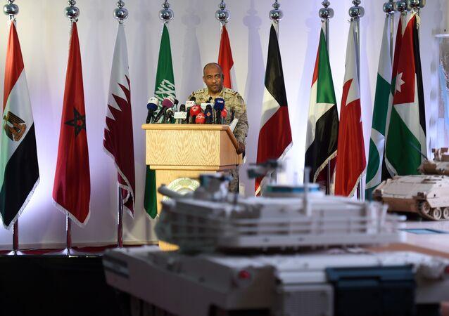 Saudi Brigadier General Ahmed Asiri, spokesman of the Saudi-led coalition forces, speaks to the media at the Riyadh airbase in the Saudi capital (File)