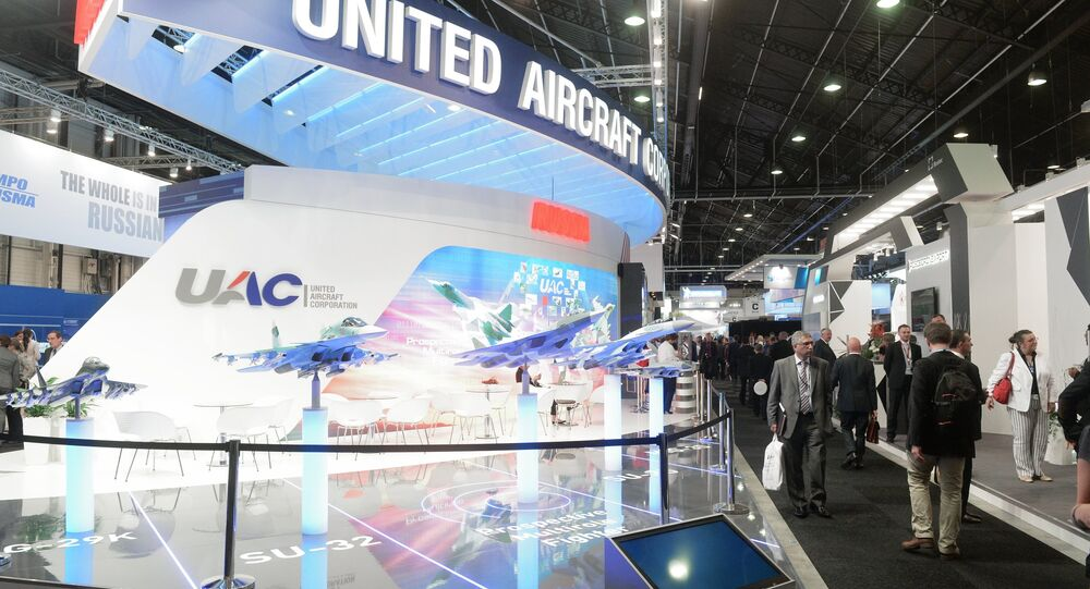 Exhibitor area of the United Aircraft Corporation (UAC) at the 51st International Paris Air Show - Le Bourget 2015 held at Le Bourget Exhibition Centre in France
