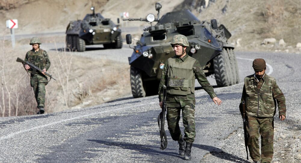 Turkish soldiers patrol on a road near the Turkey-Iraq border in the mainly Kurdish southeastern province of Sirnak (File)