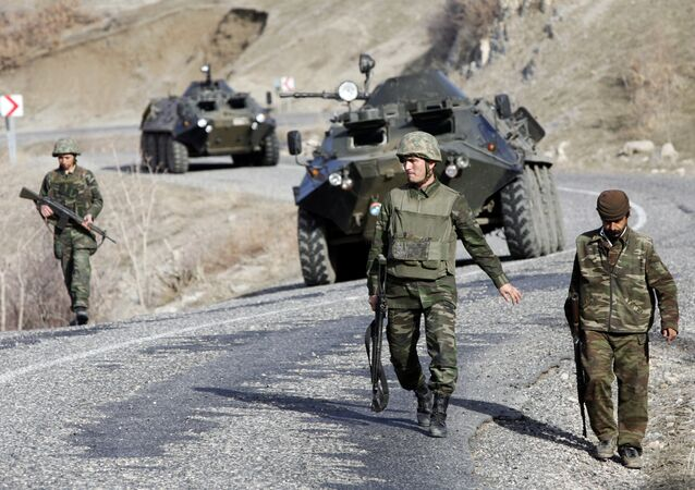 Turkish soldiers patrol a road near the Turkey-Iraq border in the mainly Kurdish southeastern province of Sirnak (File)