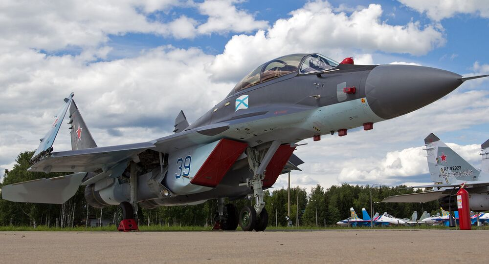 The Mig-29K all-weather carrier-based multirole fighter.