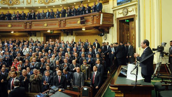 In this photo provided by Egypt's state news agency MENA, Egyptian President Abdel-Fattah el-Sissi, addresses parliament in Cairo, Egypt, Saturday, Feb. 13, 2016 - Sputnik International