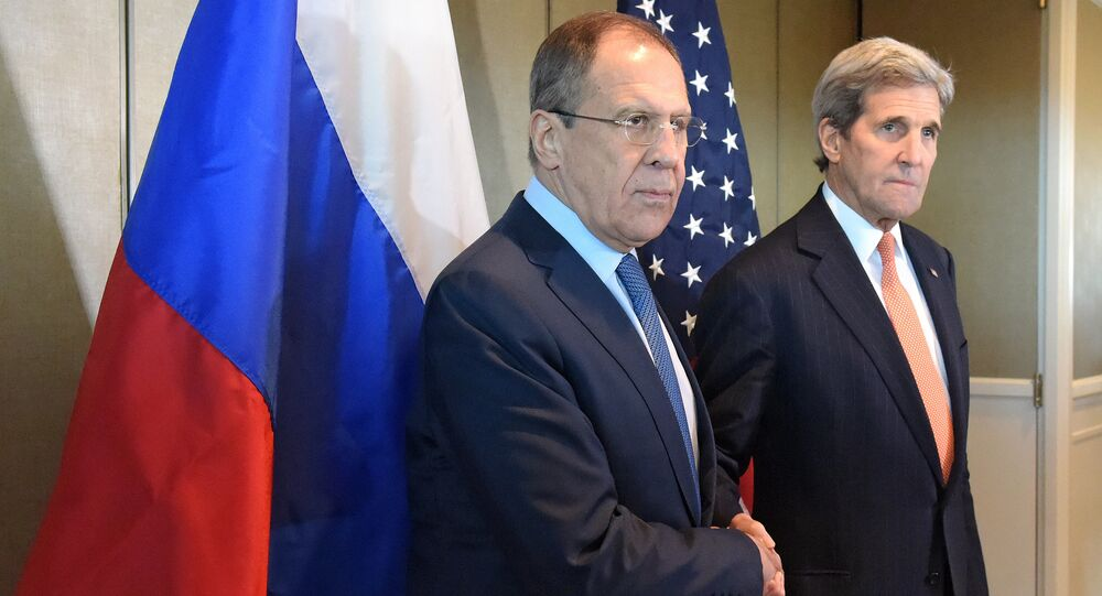 Russian Foreign Minister Sergei Lavrov meets with his US counterpart John Kerry